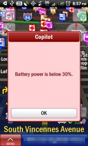 CoPilot Live Battery Alert