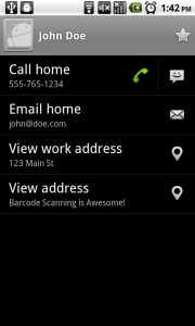 ATT Code Scanner Contact Scanned to Android Contacts List
