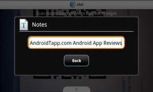 ATT Code Scanner Text Results