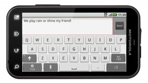 Motorola DEFY Front with Virtual Keyboard