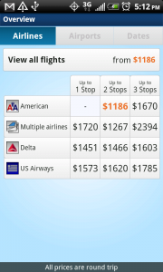 OnTheFly Airline Price Matrix