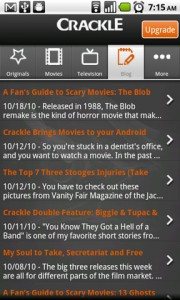 Crackle Blog in App