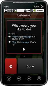 Vlingo InCar on HTC Evo Listening