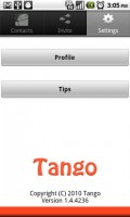 Tango Video Calls Settings Options
