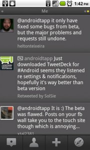 TweetDeck for Android Replies to Me Column