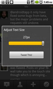 TweetDeck for Android Text Size Adjustment