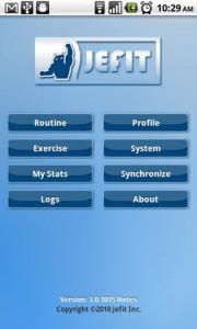 JEFIT Start Screen