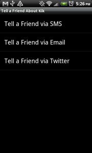 Kik Messenger Tell A Friend
