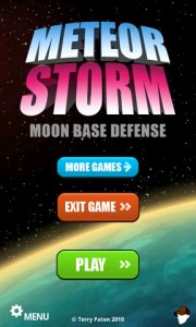 Meteor Storm Moon Base Defense Start Screen