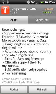 Tango Added myTouch4G Support, Adjustable Ringtone & Volume