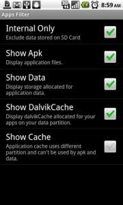 DiskUsage Apps Filter
