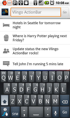 "Vlingo Android App ""ActionBar"" Integrates with Kayak, Fandango and OpenTable"
