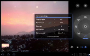 Android 3.0 Honeycomb Camera Mode