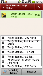 CoPilot Live Truck Weigh Stations