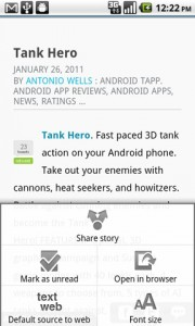 Pulse News Reader Article Options