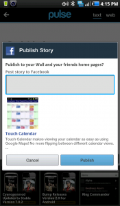 Pulse News Reader Facebook Article Share