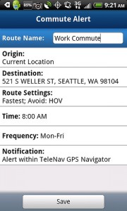 TeleNav GPS Navigator 6.2 Commute Alerts