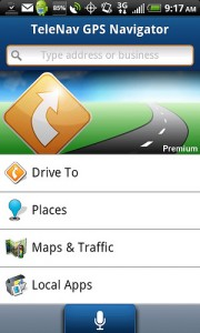 TeleNav GPS Navigator 6.2 Home Screen