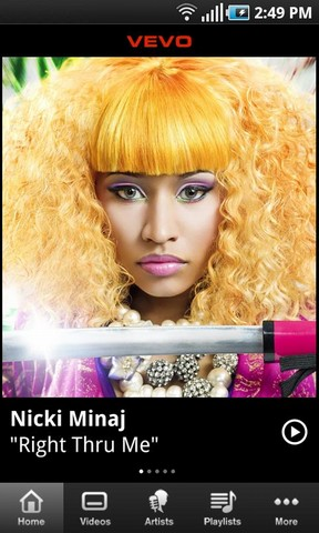 Watch High Quality Music Videos with VEVO Android App