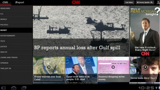 Honeycomb Preview CNN Android Tablet App