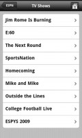 PlayOn Mobile ESPN List of Shows