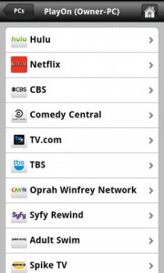 PlayOn Mobile List of Channels