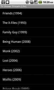 TV Shows Stream List of Shows