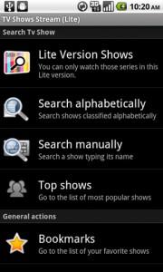 TV Shows Stream Main Screen