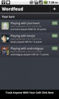 Wordfued Friends List and Active Games