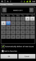 PressReader Selecting Newspaper on Calendar