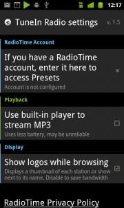 TuneIn Radio Settings