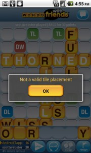Words with Friends Error with Placement