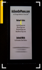 CamCard Business Card Reader Capturing Card