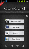 CamCard Business Card Reader Main Menu