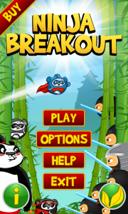 Ninja Breakout Intro Screen