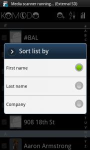 Komodo Address Book Sort Options