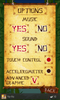 Ninja Breakout Options Screen