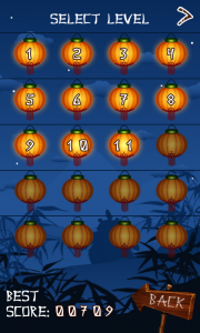Ninja Breakout Select Level Screen