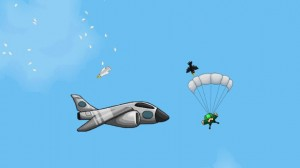Skydiver Woah, avoid that jet.
