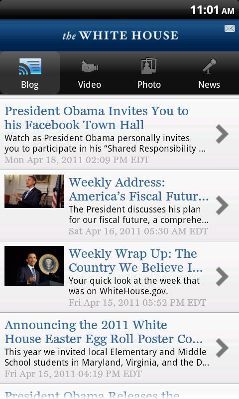 Keep up with President Obama on the White House Android App