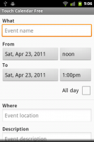 Touch Calendar Add Event