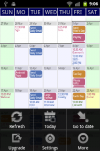 Touch Calendar Top Menu