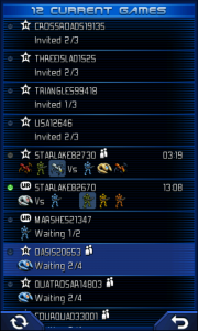 Uniwar Game List Screen