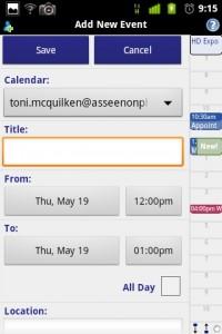 Business Calendar Event Creation
