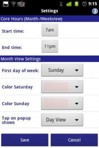 Business Calendar Settings 2