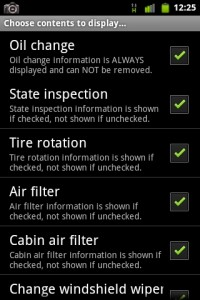 Car Maintenance Display Settings