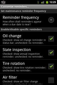 Car Maintenance Reminder Settings
