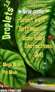 Droplets 2.0 Menu