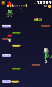 Froggy Jump - In game, with protective bucket on head.
