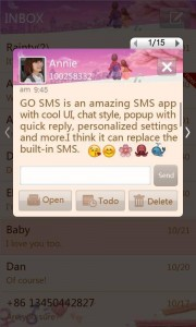 GO SMS Pro Popup